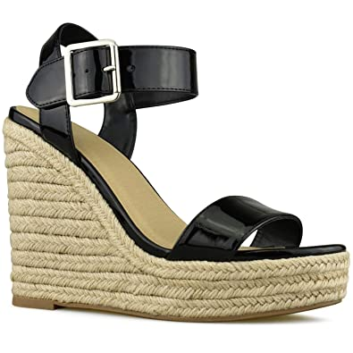 9ba3ae2be9b Premier Standard - Women s Peep Toe Ankle Strap Buckle Espadrille Wedge  Sandals