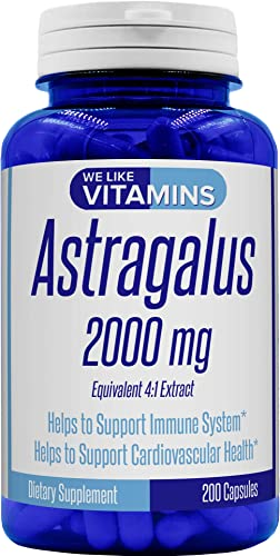 Astragalus 2000mg Equivalent 4 1 Extract 200 Capsules Astragalus Supplement Helps Support Strong Immune Function and Cardiovascular System Astragalus Root Extract