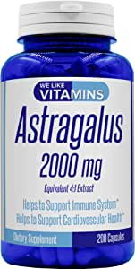 Astragalus 2000mg Equivalent 4:1 Extract - 200 Capsules - Astragalus Supplement - Helps Support Strong Immune Function and Cardiovascular System Astragalus Root Extract