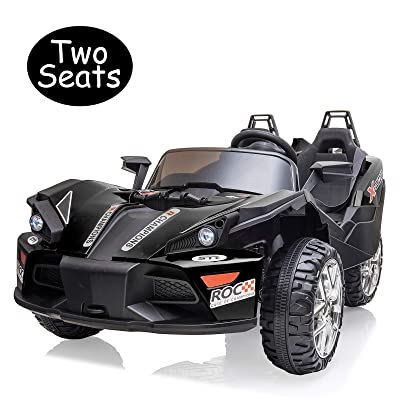 Uenjoy 2 Seats Kids Car 12V Ride On Racer Cars Battery Operated Electric Cars w/ 2.4G Remote Control,Spring Suspension Wheels,3 Speeds,LED Lights,Music,Bluetooth,AUX Cord,USB Port,Car Key,Black: Toys & Games