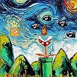 Gaming Art CANVAS print van Gogh Never Met Bullet Bill art starry night Aja 8x8, 10x10, 12x12, 16x16, 20x20, 24x24, 30x30 inches