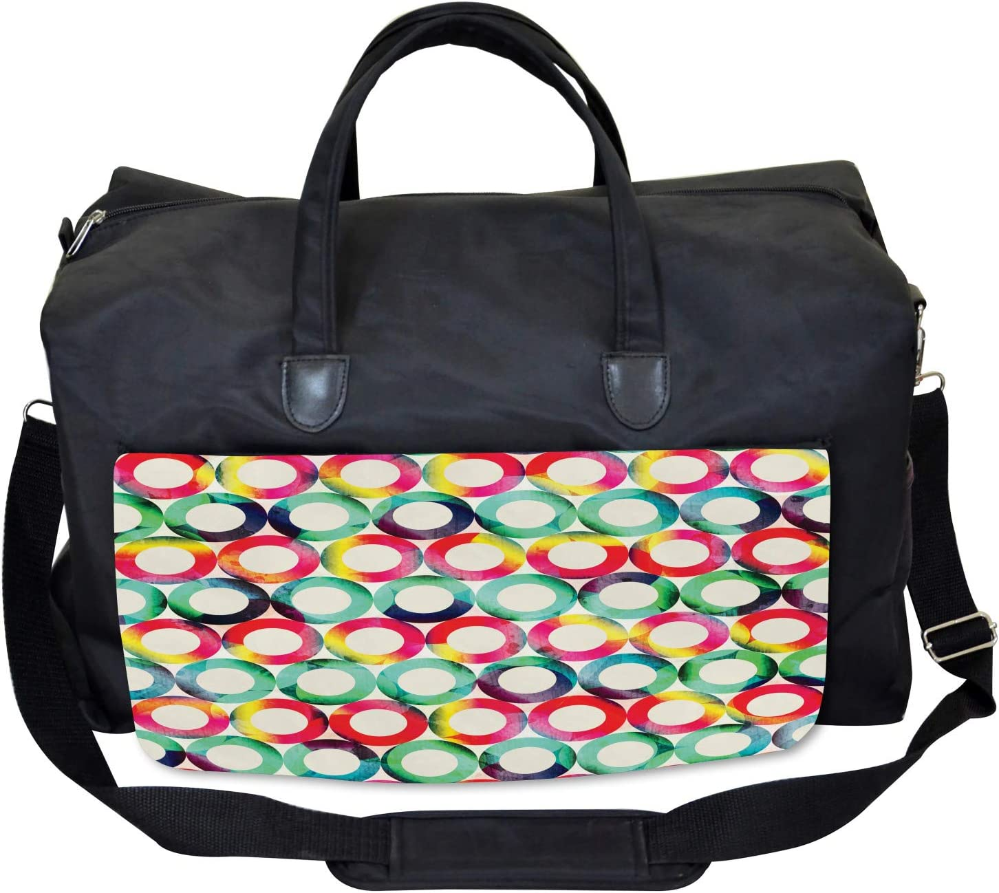 Ambesonne Hipster Gym Bag Large Weekender Carry-on Retro Spots