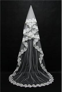 Velo de la boda 3 metros de Europa y los Estados Unidos Moda Señoras Rojo Blanco