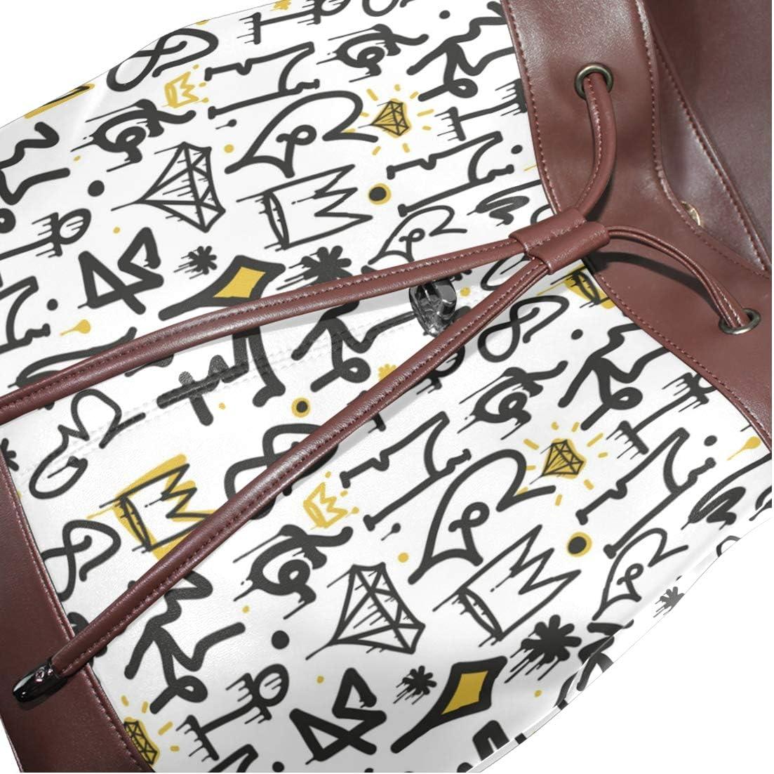Leather Graffiti Background Pattern Backpack Daypack Bag Women