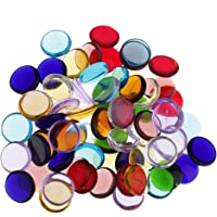 Colaxi 100g Flat Glass Gems Colored Glass Stones Gem Beads Decor Clear Mosaic Tiles for