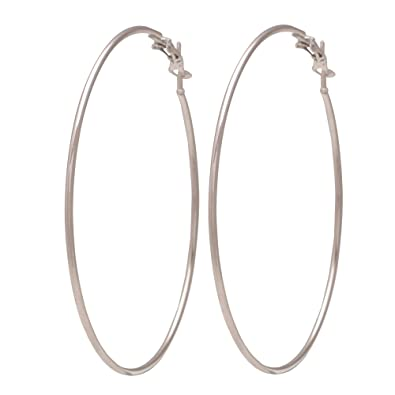 Buy Memoir Silver Plated Brass Big Hoop Bali Earrings For Girls And
