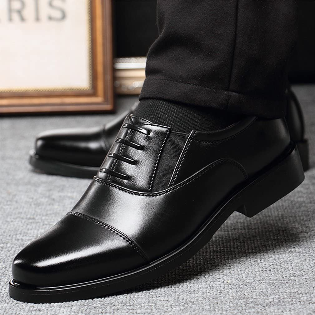 Mensg Fashion Retro British Ankle Round Toe Lace Up Oxfords Shoes Black