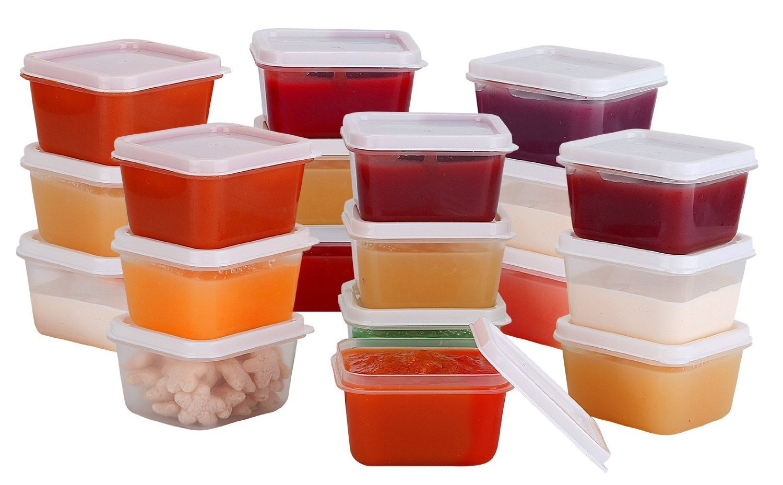 Greenco Mini Food Storage Containers, Condiment, and Sauce Containers, Baby Food Storage and Lunch Boxes, Leak-resistant, 2.3 oz Each, Set of 20 GRC0178