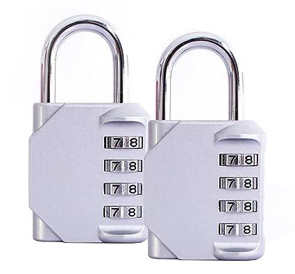 Candados Combinación, 2 Piezas 4-Dígitos Candado de Seguridad Para Gimnasio, Puerta de