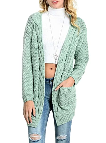 73d50cad335 HIKARE Women s Oversized Long Sleeve Open Front Chunky Cable Knit Sweater  Cardigans with Pockets at Amazon Women s Clothing store