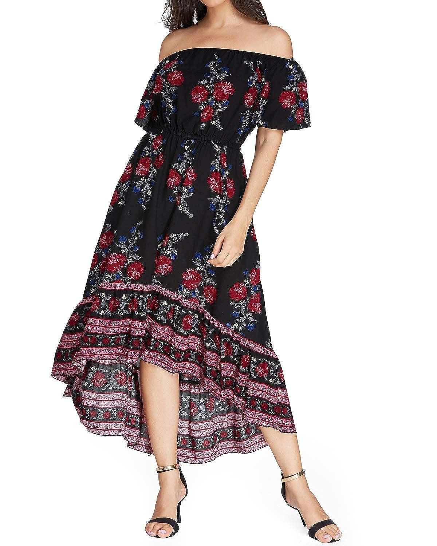 Kidsform Maxi Kleid Damen Casual Sommerkleid Kurzarm Lange Kleid Mit Tasche Lose Strandkleider HoheTaille