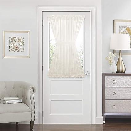GoodGram Ultra Luxurious Semi Sheer Batiste Door Curtains With Tieback Assorted Colors Sizes Ivory Half Door Length