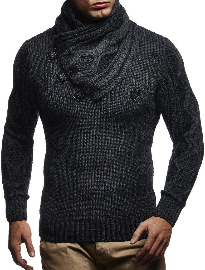 Leif Nelson LN5195 Men's Pullover With Faux Leather Accents,US-L / EU-XL,Anthracite Black