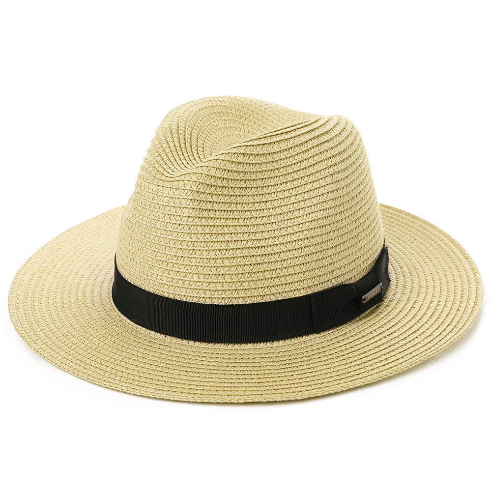 Large Head Womens Mens Packable Black Ribbon Band Straw Fedora Derby Panama Beach Sun Hat Beige 56-59cm