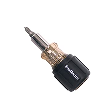 and 3//16 /& 1//4 Slotted Tips Southwire SDS6N1 6-in-1 Stubby Multi-Bit Screwdriver Includes 5//16 /& 1//2 Hex 1 and #2 Phillips Cushion Grip Handle Black