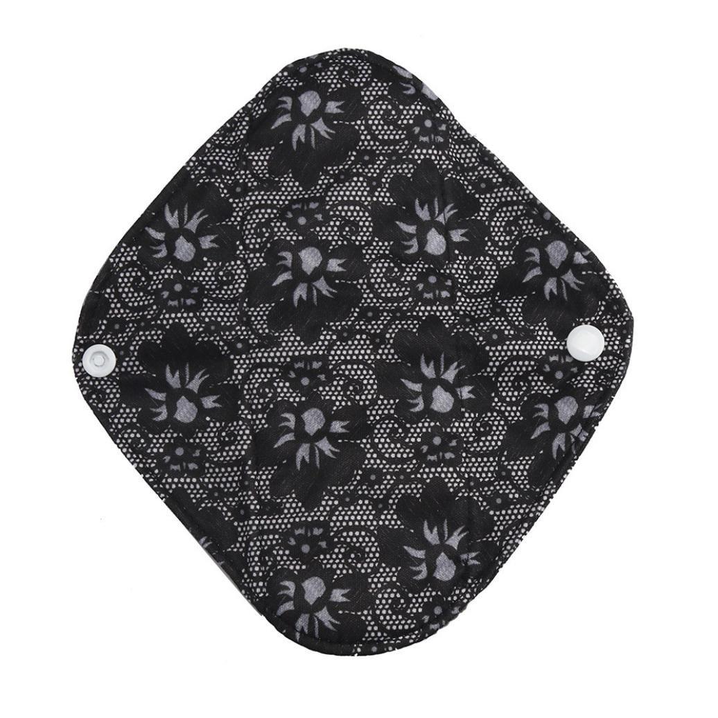Covermason Menstrual Pad, Reusable Bamboo Cloth Washable Mama Sanitary Towel Pad Panty Liner (S, Black)