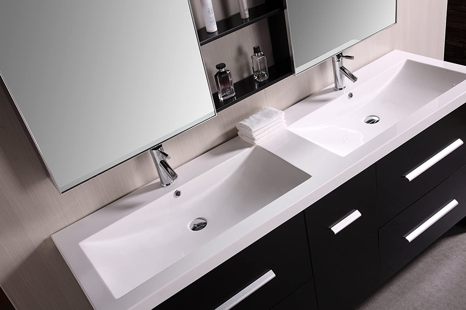 Design Element Perfecta Double Integrated White Acrylic Dropin Sink - Integrated bathroom sink and countertop