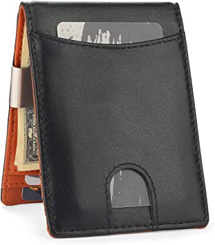 Black GENUINE LEATHER Mens Bifold 8 Credit Cards Money Thin Front Pocket Wallet