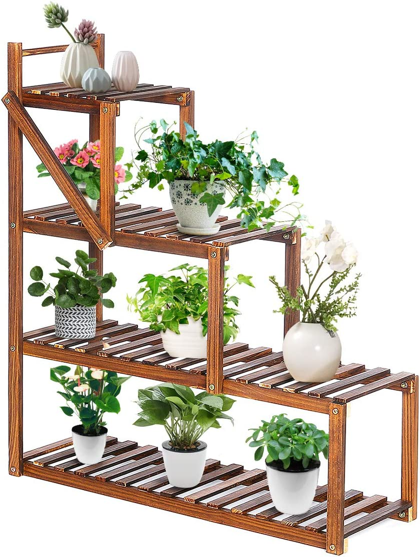 TOOCA Wood Plant Stands Indoor, 3-Tier Corner Plant Flower Pot Stand, Stylish Outdoor Plant Display Rack Holder, Steady Vertical Carbonized Shelves for Patio Livingroom Balcony Garden Yard