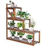 TOOCA Wood Plant Stands Indoor, 3-Tier Corner Plant Flower Pot Stand, Stylish Outdoor Plant Display Rack Holder, Steady Verti