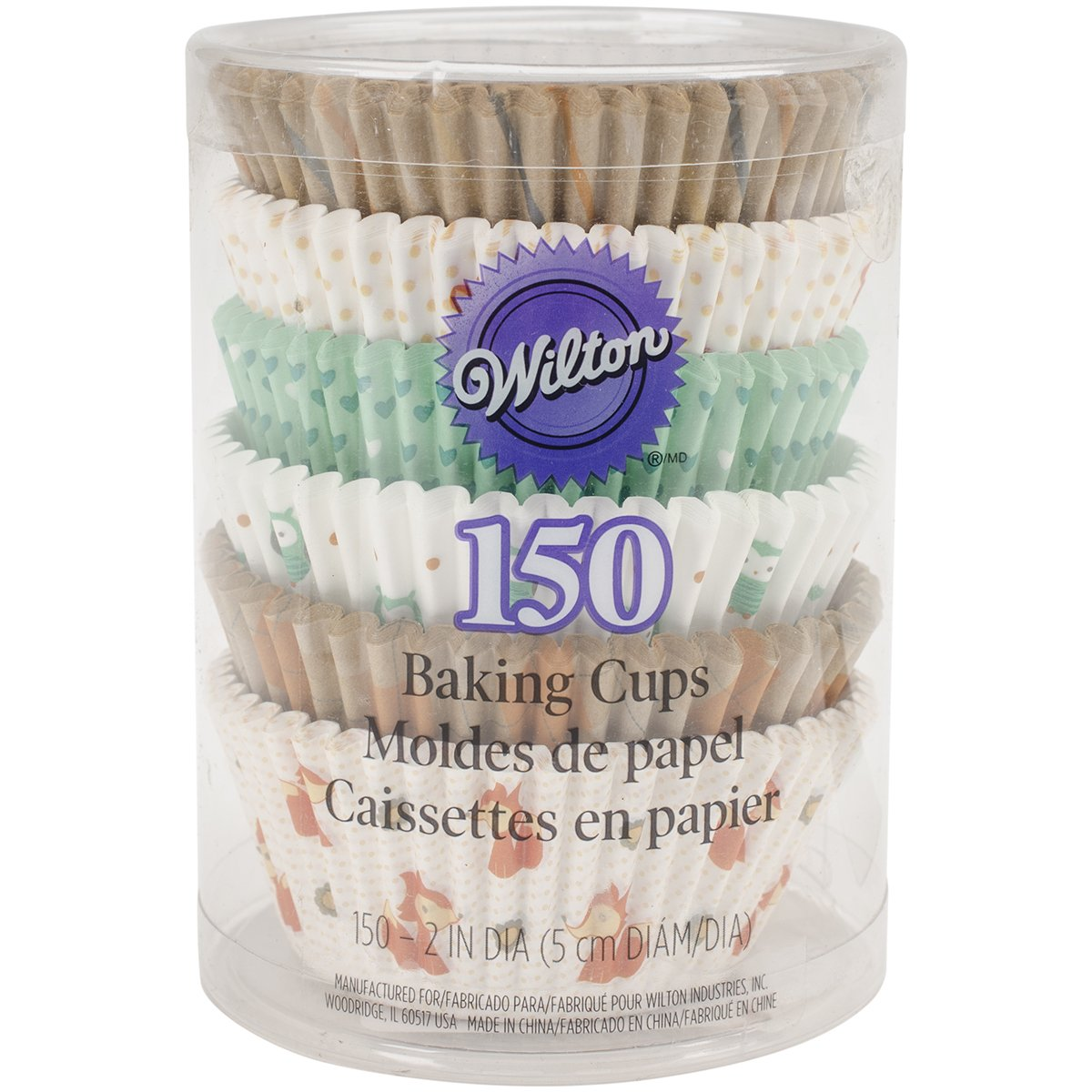Wilton 415-2870 150 Count Woodland Animals Baking Cups Value Pack, Assorted