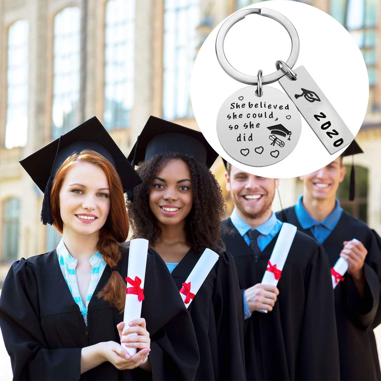 Trounistro 4 Pack Graduation Keychain Inspirational Keychain Encouragement Graduation Gifts Keychain for 2020 Graduate Students Supplies