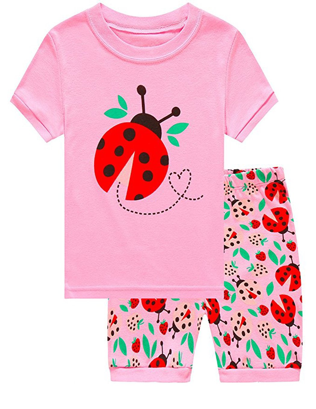 Dhasiue Girls Pajamas Toddler Kids Shorts Sets 100% Cotton Sleepwear Summer Clothes for Age 1-6 Years