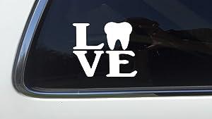 "ThatLilCabin - Love Tooth AS028 6"" Dental Hygiene Decal Sticker"