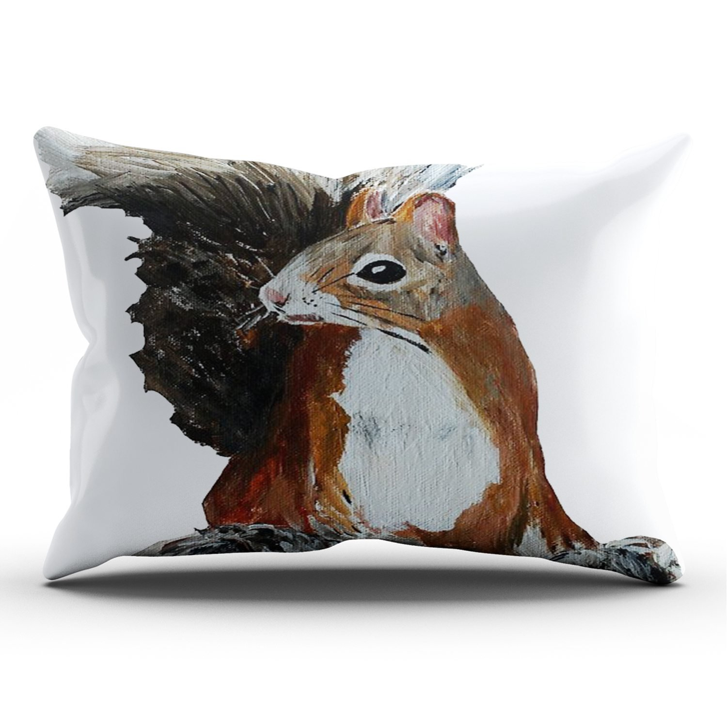 KEIBIKE Personalized Red Squirrel Woodland Animal Acrylic Painting Rectangle Decorative Pillowcases Print Zippered King Pillow Covers Cases 20x36 Inches One Sided