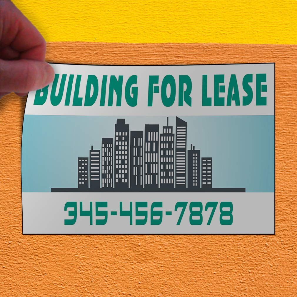 Custom Door Decals Vinyl Stickers Multiple Sizes Building for Lease Phone Number A Business for Lease Outdoor Luggage /& Bumper Stickers for Cars Green 27X18Inches Set of 5