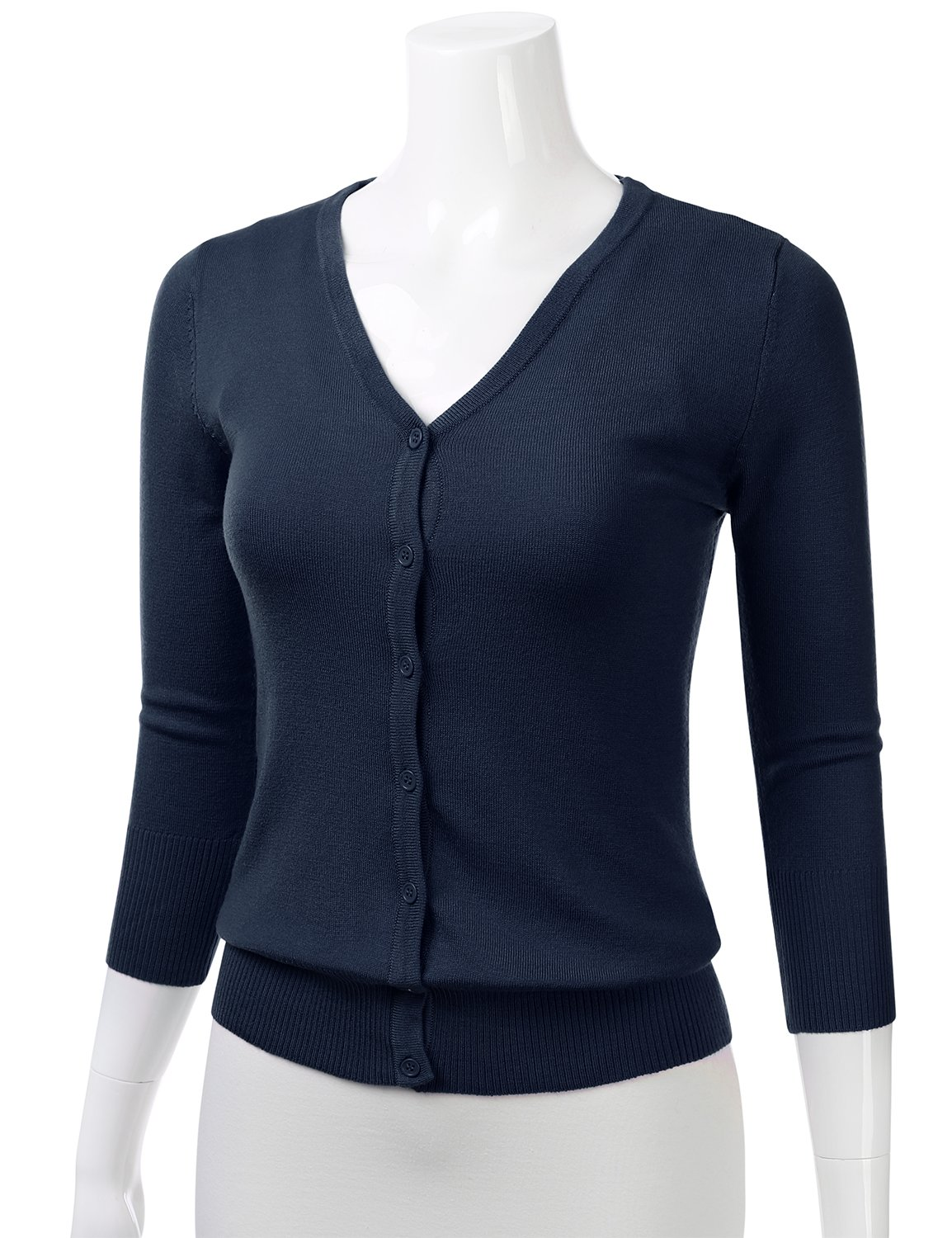 FLORIA Womens Button Down 3/4 Sleeve V-Neck Stretch Knit Cardigan Sweater Navy M by FLORIA (Image #2)