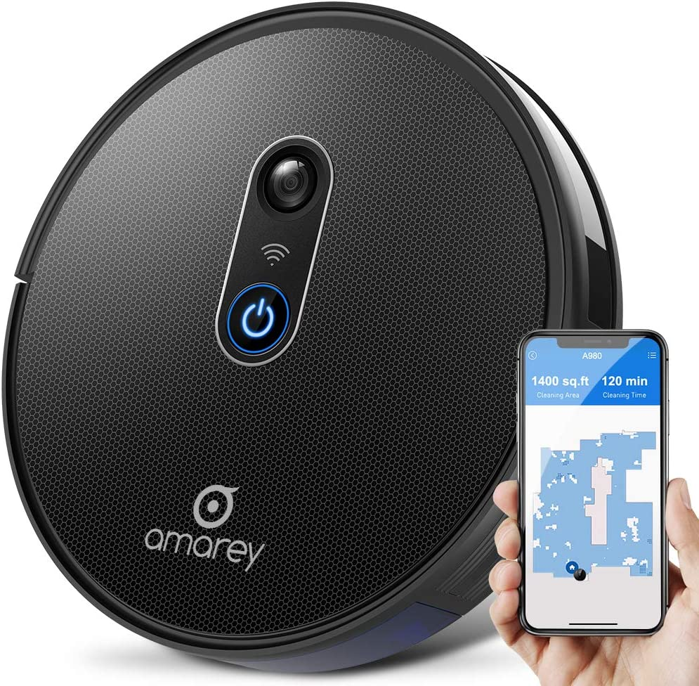 Amarey A980 Robot Vacuum Cleaner - Smart Navigating Robotic Vacuum for Pet Hair with 1400Pa Suction, APP Control, Wi-Fi Connected, Self-Charging, Super Quiet, Handles Hard Floors&Carpets