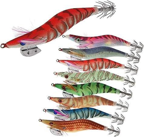 8 Piezas Luminoso Pesca Camarones Señuelo Cebo de Calamar para ...