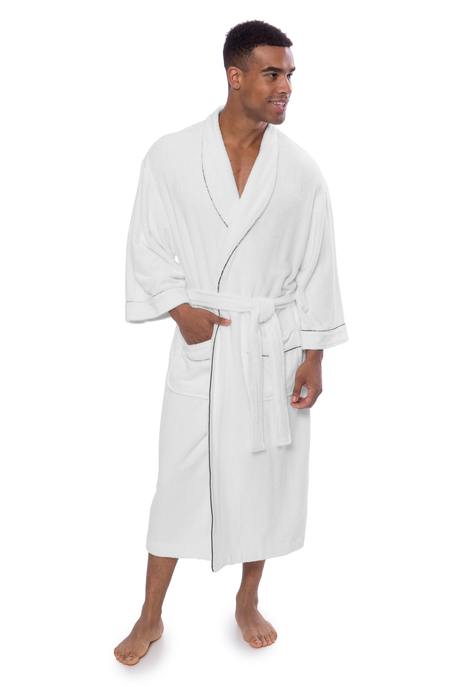 Men's Luxury Terry Cloth Bathrobe - Soft Spa Robe by Texere (EcoComfort, Natural White, Small/ Medium ) Thoughtful Gift for Men MB0101-NWH-SM