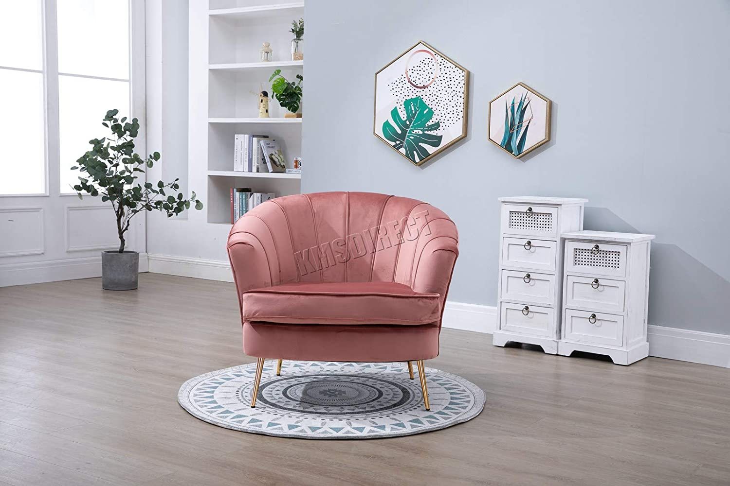 WestWood Armchair Sofa 1 Seater Settee Couch Upholstered Seat Velvet Fabric Tub Chair Home Furniture 8105 Pink