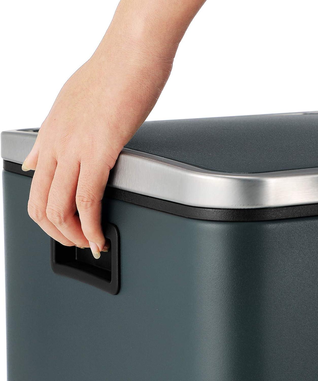 luftdicht mit Klappdeckeln und Griffen 2 x 30 L Treteimer aus Metall Inneneimer aus Kunststoff SONGMICS M/ülleimer f/ür die K/üche Softclose Abfalleimer mit 2 F/ächern M/ülltrennung grau LTB60GS