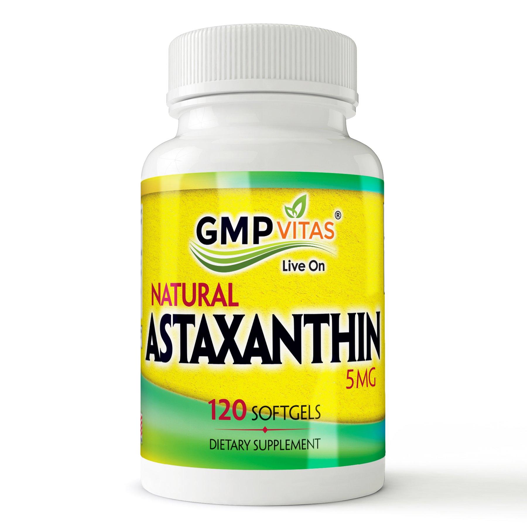 GMP vitas Natural Astaxanthin 5 MG, 120 Softgels, Dietary Supplement