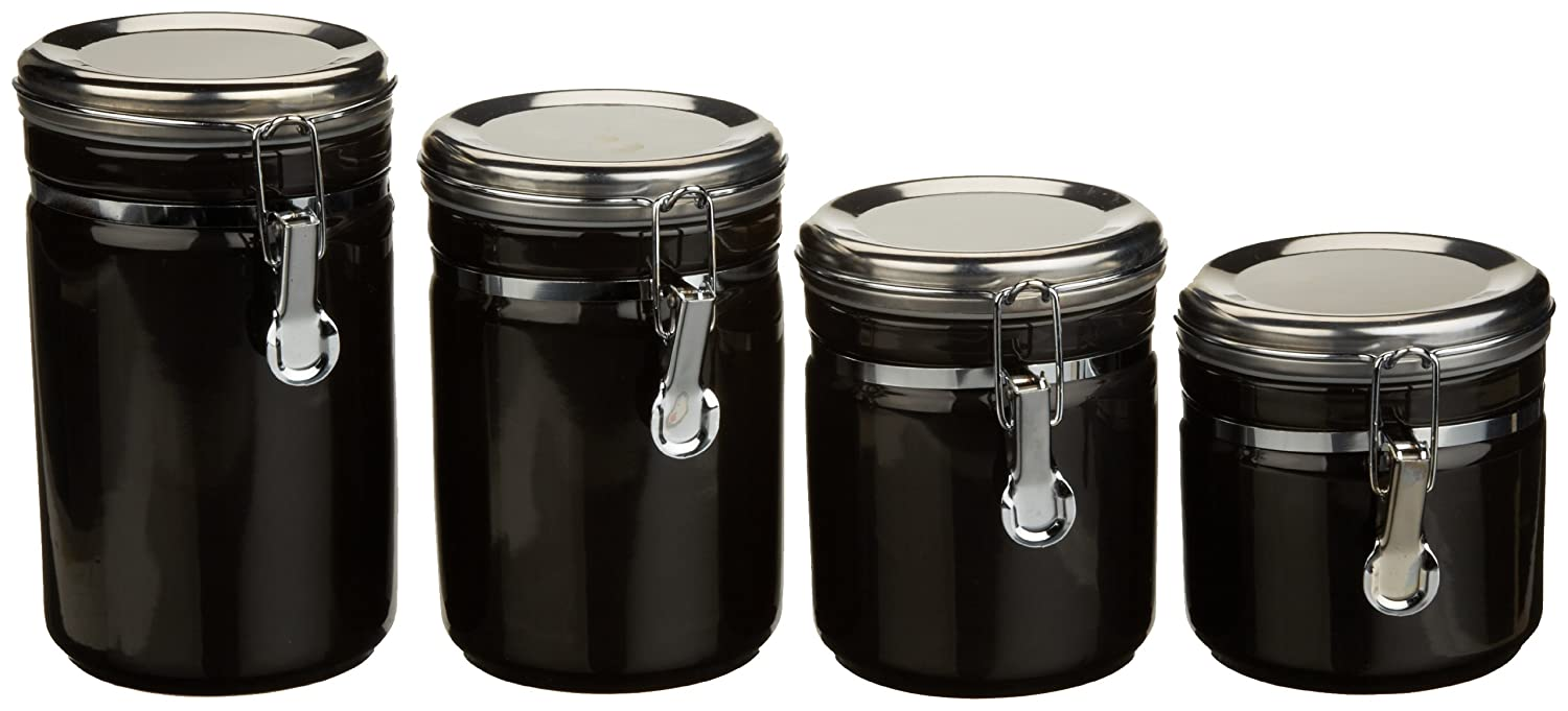 amazon com anchor home collection 4 piece ceramic canister set amazon com anchor home collection 4 piece ceramic canister set with clamp top lid black kitchen storage and organization product sets kitchen dining