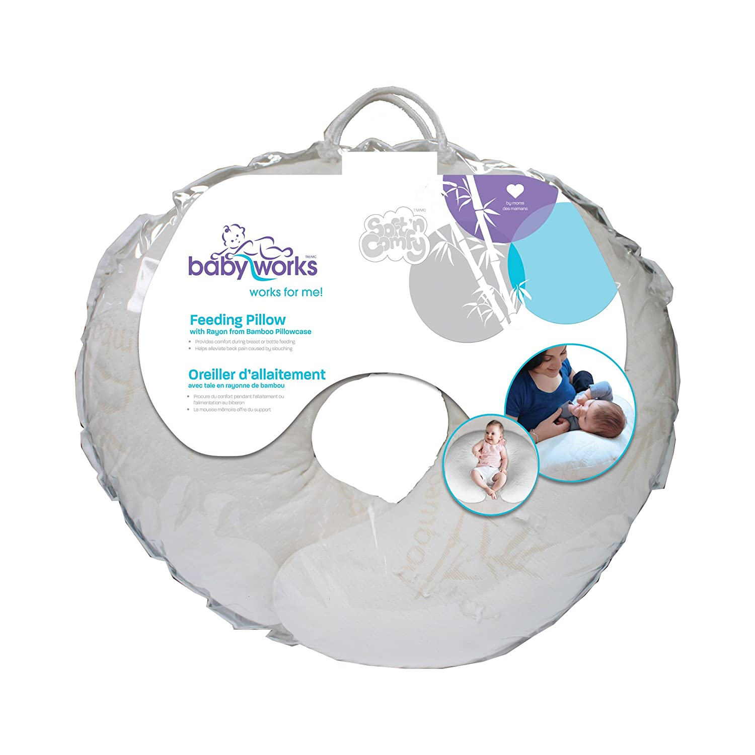 Baby Works Feeding Pillow with Memory Foam Top and Bottom Layer 29331