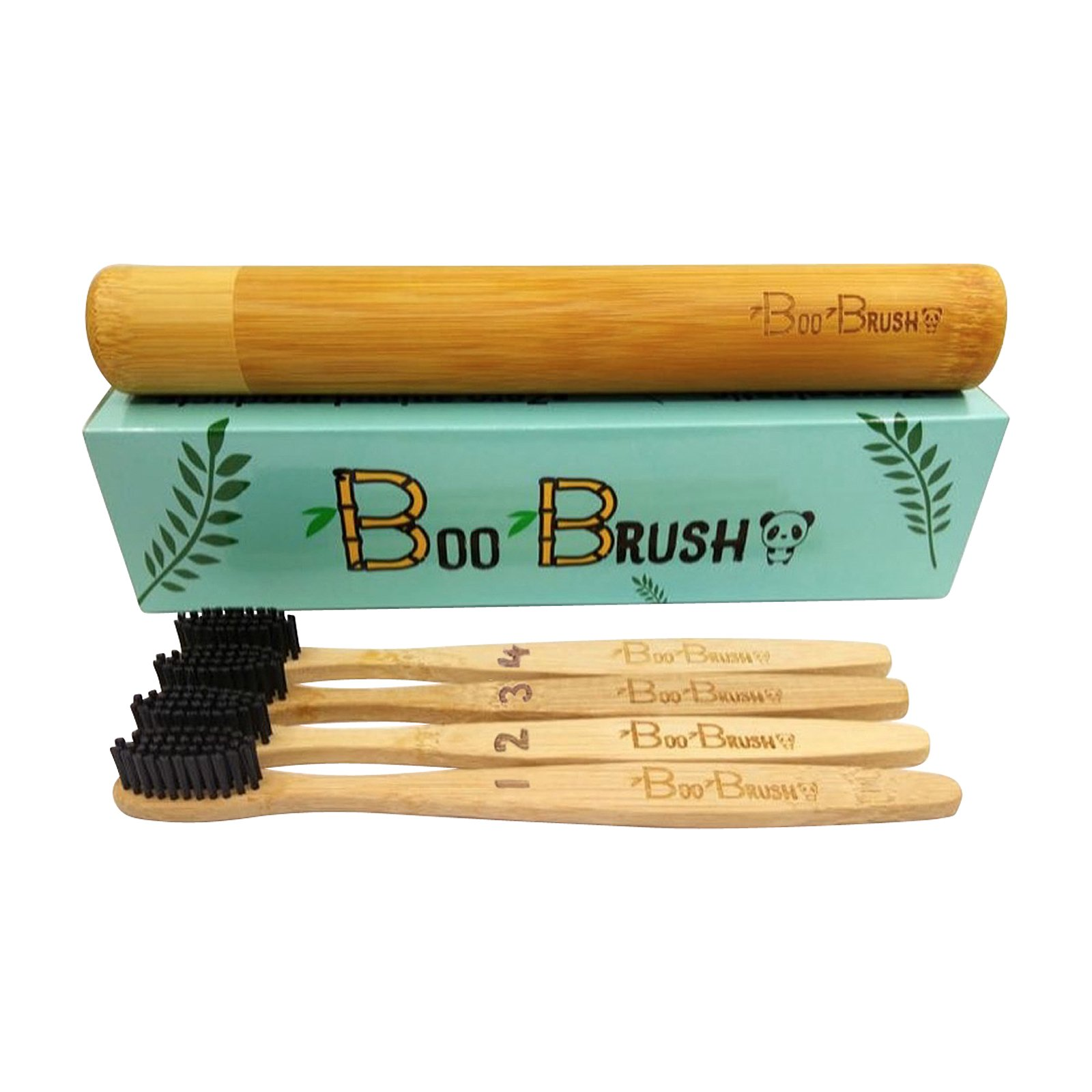 Bamboo Toothbrush|Charcoal Activated Soft/Med Bristles|Natural 100% Biodegradable Handle|