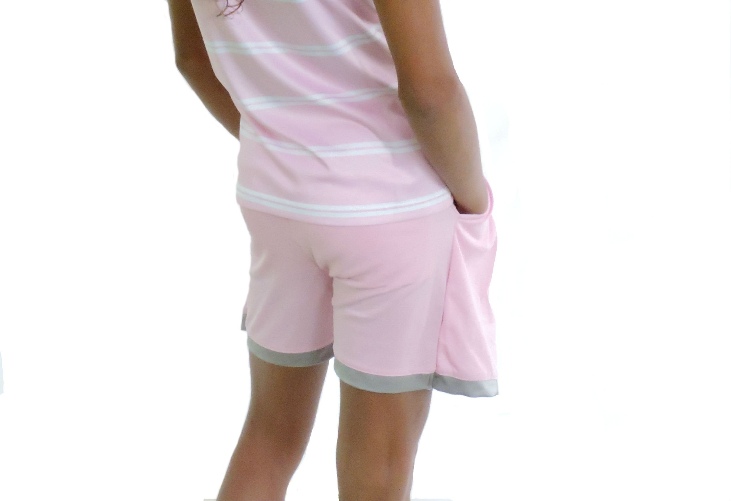Sephlin - Natalia Pink and Silver Junior Girls Pleats Skort (12-14 Years Old)