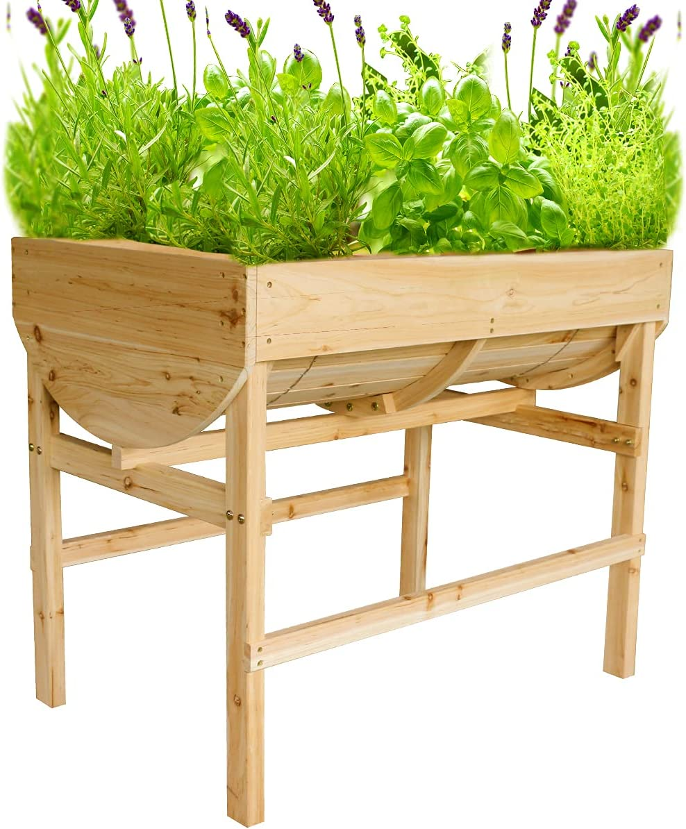 Raised Garden Bed Wooden Planter Box Outdoor Elevated Planters Boxes with Legs for Vegetable Flower Herb, U-Shape Above Ground Gardening Beds with Protective Liner for Backyard Patio, Deck, Balcony