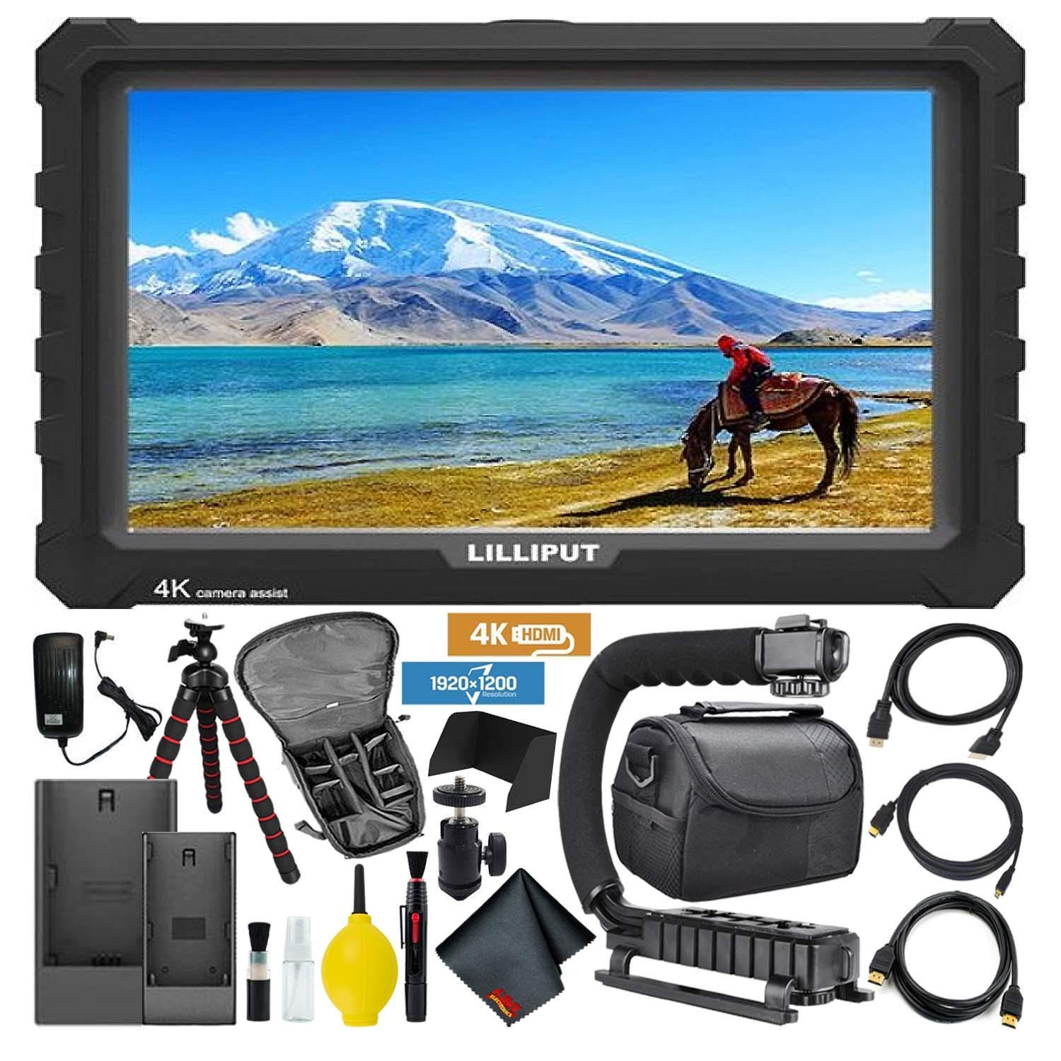 Lilliput A7S Full HD 7 Inch IPS Video Camera Field Monitor w/ 4K Support (Black Case) HDMI Ports Advanced Bundle w/Stabilizing Handle, Tripod, HDMI Cables, Carrying Case, Backpack, and Cleaning Kit