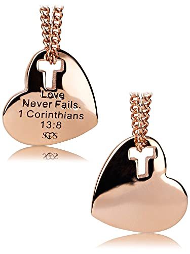 14950bb9d Amazon.com: Women's Rose Gold Stainless Steel Heart W/Cross Cut Out Necklace -1 Corinthians 13:8: Jewelry