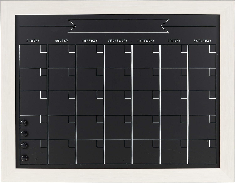 DesignOvation Beatrice Framed Magnetic Chalkboard Monthly Calendar, 23x29, White
