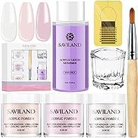 Saviland Acrylic Powder and Liquid Set - Professional Monomer Liquid acrylic powder System, 3 Colors Clear Pink Nude…