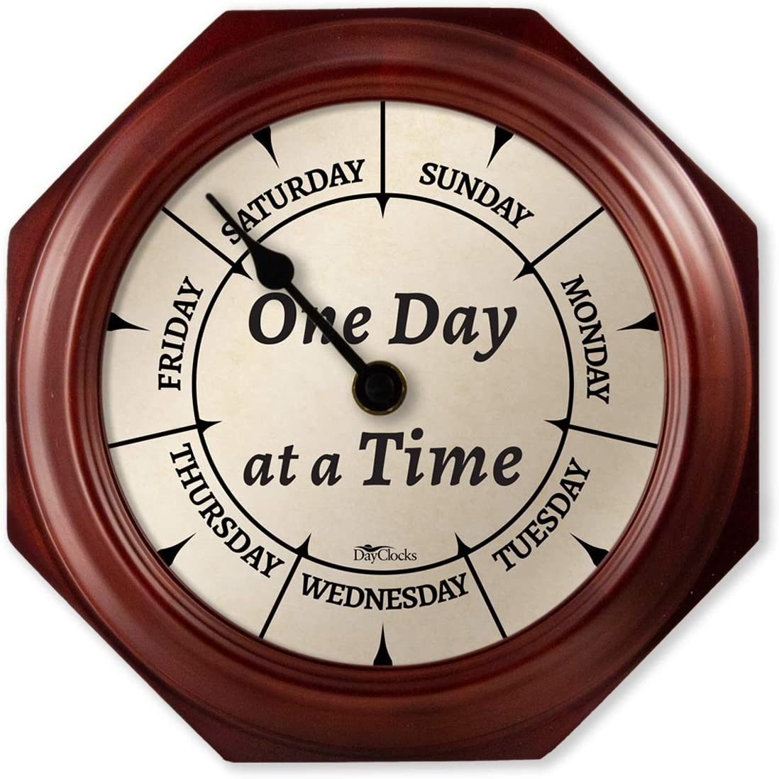 Dayclocks Classic One Day At A Time Clock Day Of The Week Clock Day To Day Clock With Noon Midnight Markers 9 5 Mahogany Wall Clock Kitchen Dining