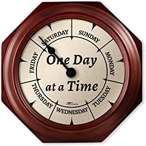 """DayClocks Classic One Day at a Time Clock – Day of The Week Clock – Day to Day Clock with Noon & Midnight Markers – 9.5"""" Mahogany Wall Clock"""
