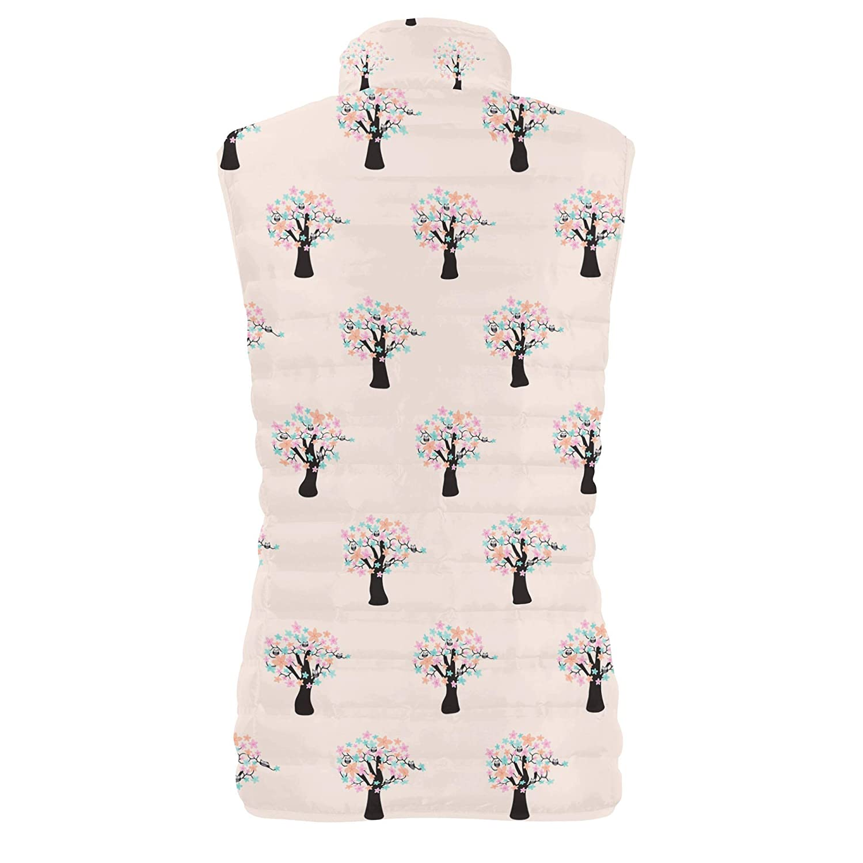 Owls in Blossom Trees Womens Puffer Vest Bodywarmer Gilet
