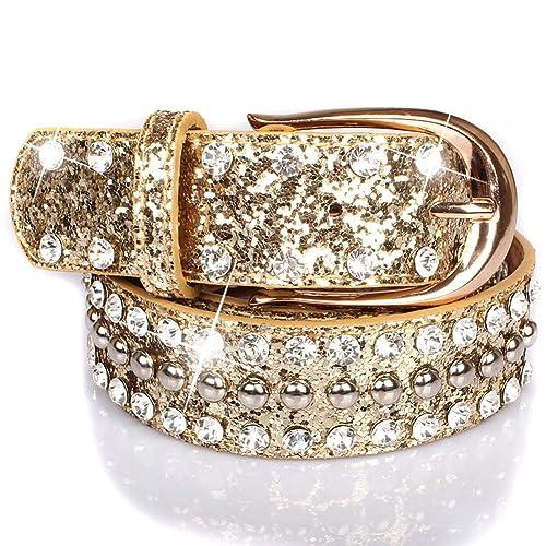 Cintura di paillettes rivet gioventù decorata cinture cinture di moda-A 125cm(49inch)